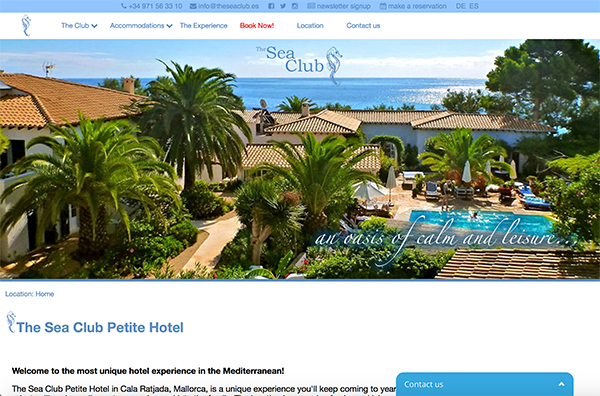 The Sea Club Hotel website